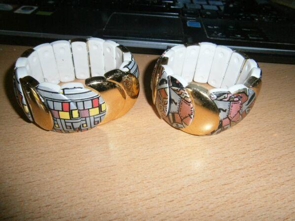 1 Dehnbares Armband - Goldfarben - Weiß Mit Muster - Neu Den Menschen In Ihrem TäGlichen Leben Mehr Komfort Bringen