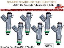 DENSO OEM FUEL INJECTORS 6X for 2007-2014 HONDA-ACURA 3.5L-3.7L 16450R70A01