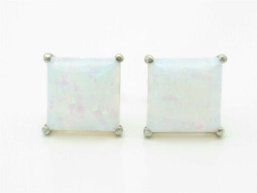 PLATINUM STERLING SILVER DIAMOND SET PRINCESS CUT WHITE OPAL STUD EARRINGS GIFT