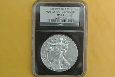 2008 W ANNUAL Uncirculated Dollar coin Set NGC MS69 burnished Silver Eagle