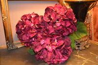 Bunch Of 5 Large Plum Purple Faux Silk Hydrangeas Individual Artificial Flowers