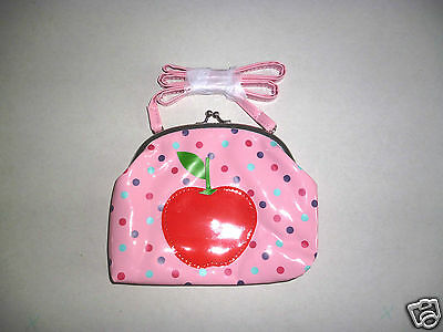 Girls South Island Gloss Pink Cross Body Clasp Bag- Red Apple Design- NEW