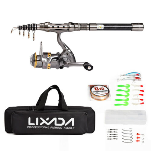 Lixada 1.8M Accessories Fishing Rod Reel Combo Kit Spinning Tackle Set R5Z2