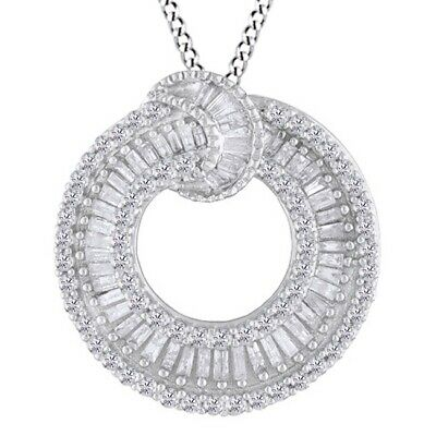 Cluster Flower Pendant Necklace 1.00 Ct Baguette Cut Simulated Diamond Solid 925 Sterling Silver