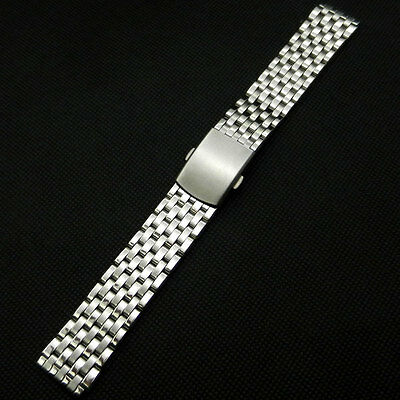 Silver18/22mm Stainless Steel Wrist Watch Band Fold Clasp Push Button Mens Women