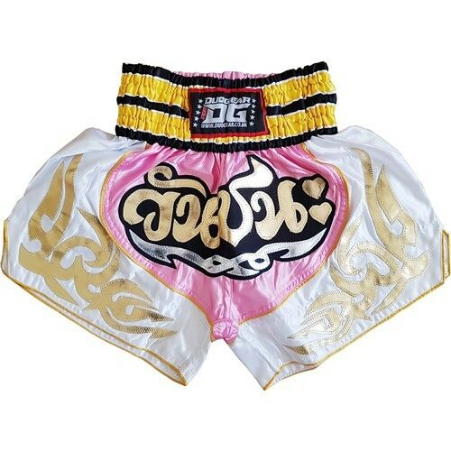 PINK & WHITE 'VICTORY' SHORTS TRUNKS FOR MUAY THAI TRAINING AND FIGHTING