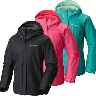 "New Girls Columbia /""Arcadia/"" Omni-Tech Waterproof Reflective Rain Wind Jacket"