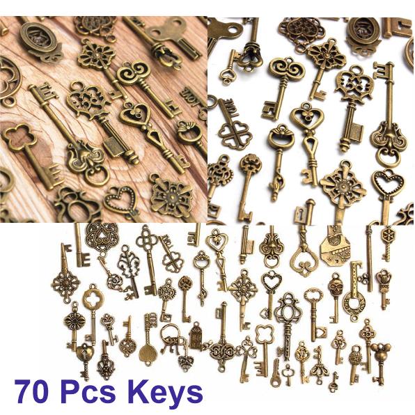 Set Of 11 Vintage Style Antique Skeleton Furniture Cabinet Old Lock Keys Copper