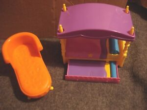 Image is loading Dora-the-Explorer-Canopy-Bed-&-Chaise-Lounge- & Dora the Explorer Canopy Bed u0026amp; Chaise Lounge Dollhouse Furniture ...