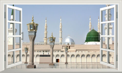 Mecca Medina Mosque Saudi Magic Window Wall Art Adhesive Sticker Decal Print