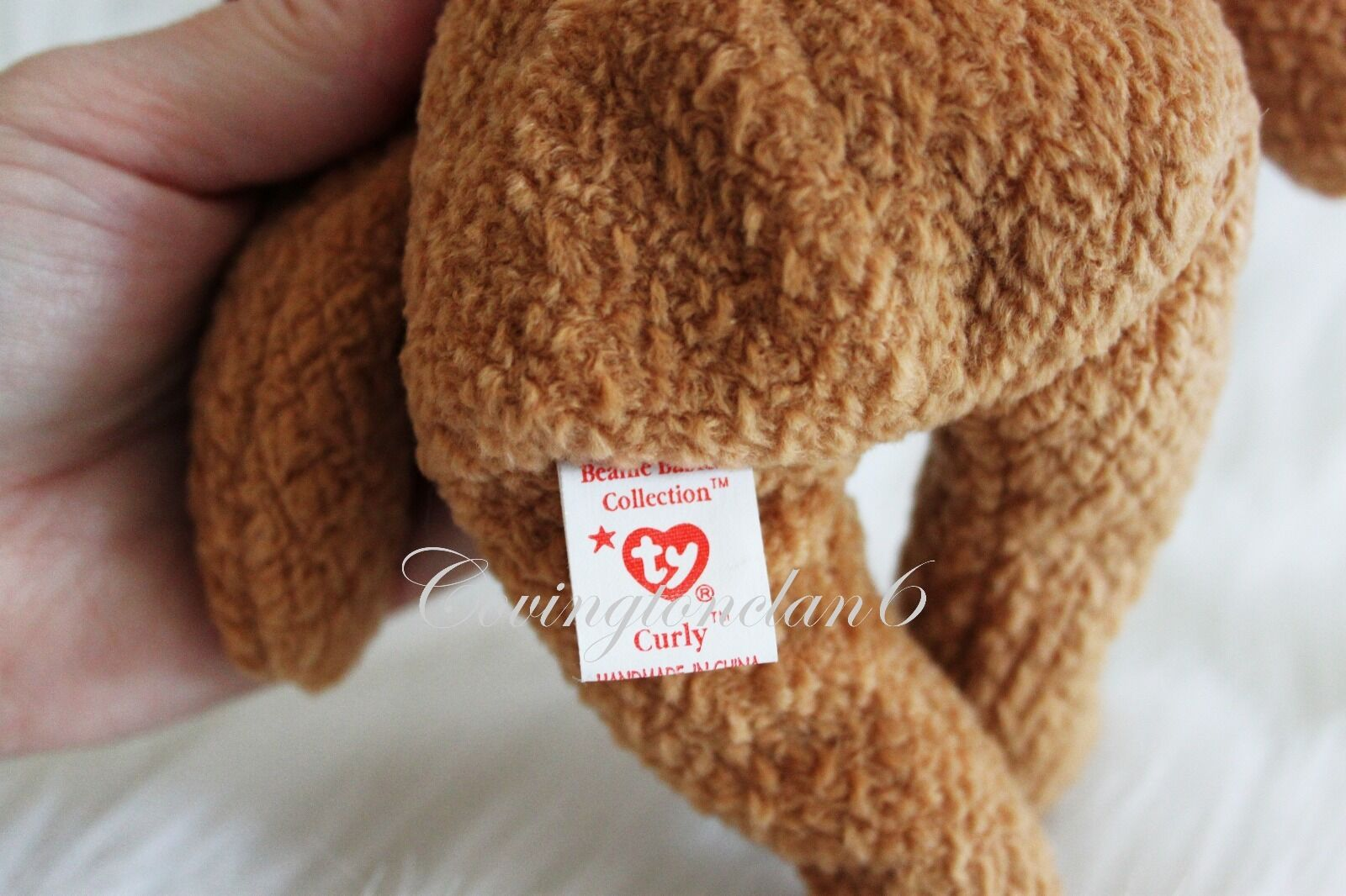 Ty Beanie Baby CURLY BEAR rare 1993 with very rare BEAR collectible hang tag errors 076c03