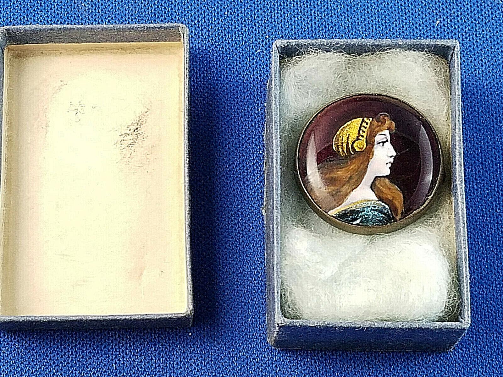 Antique Limoges Signed Enamel Portrait Brooch Pin - image 1