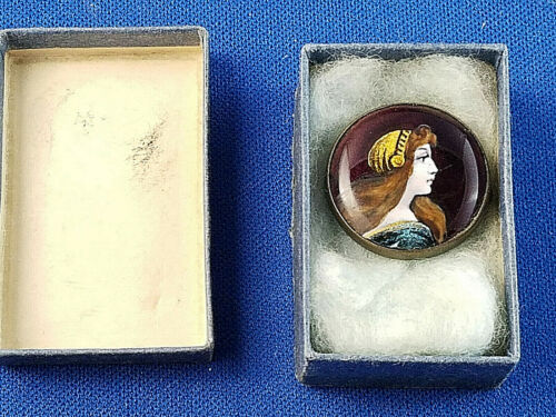 Antique Limoges Signed Enamel Portrait Brooch Pin