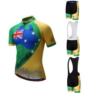 Australia-Cycling-Team-Kit-Men-039-s-Reflective-Cycle-Jersey-Bib-Shorts-Set-S-5XL