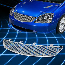 For 02 05 Honda Civic 3 Door Chrome Mesh Bumper Grill Grille Cover Replacement Fits 2004 Honda Civic