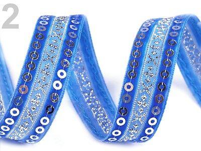 Samtband Samtborte Borte Zierband Zierborte Pailletten bestickt Silber blau