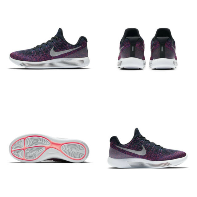 24ca66857a52f Nike Lunarepic Low Flyknit 2 Black Purple Men Running Shoes SNEAKERS ...