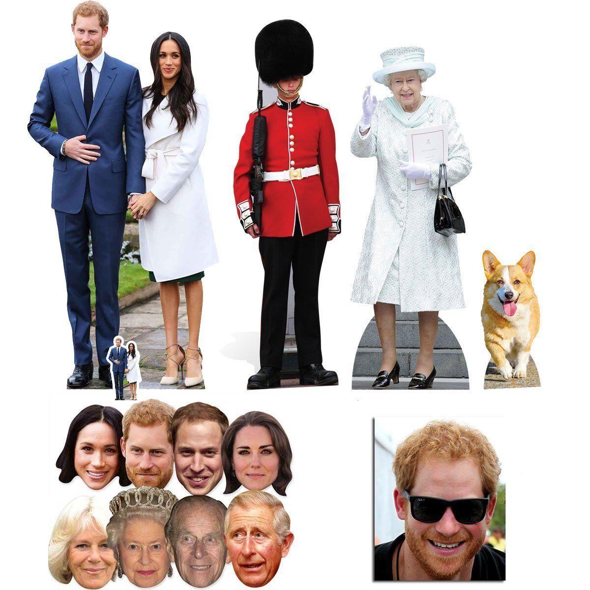 Mariage Royal Prince Harry & Meghan Markle découpe en carton & masque doré