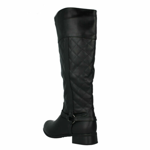 WOMENS LADIES F5R0192 ZIP LONG KNEE RIDING MID HEEL QUILTED CASUAL BOOTS SPOT ON