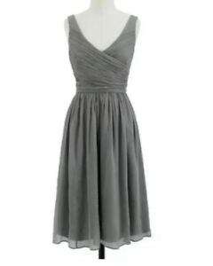 Details about J Crew Heidi Silk Grey Dress New With Tags $350 Evening Ball Wedding Size 6 8 S