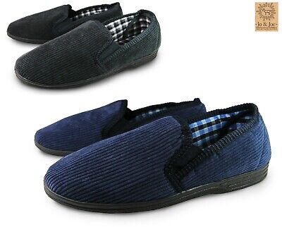 Mens Comfy Warm Cosy Full Slippers Twin Gusset Slip On Hard Sole Soft Cord Size