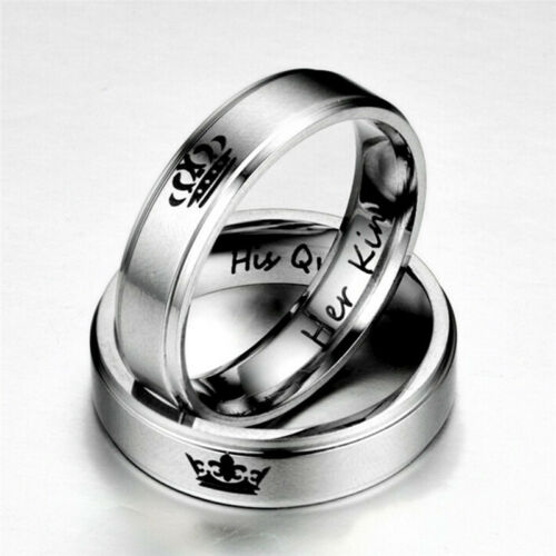Couple Rings HIS QUEEN HER KING Titanium Steel Rings Jewelry Accessories HK