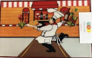 """nonskid back PRINTED NYLON RUG FAT CHEF AT THE BAKERY by JM 18/"""" x 30/"""""""