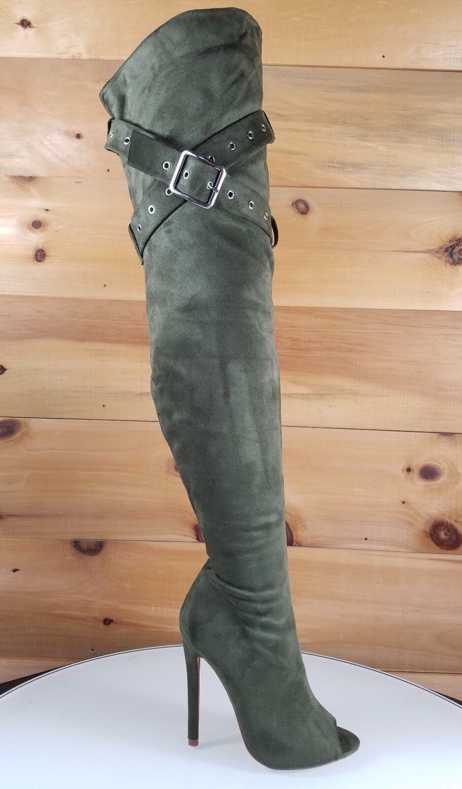 So Me Astra OTK High Heel Thigh Boots 4.5  Stiletto Belt Strap Design Army Olive