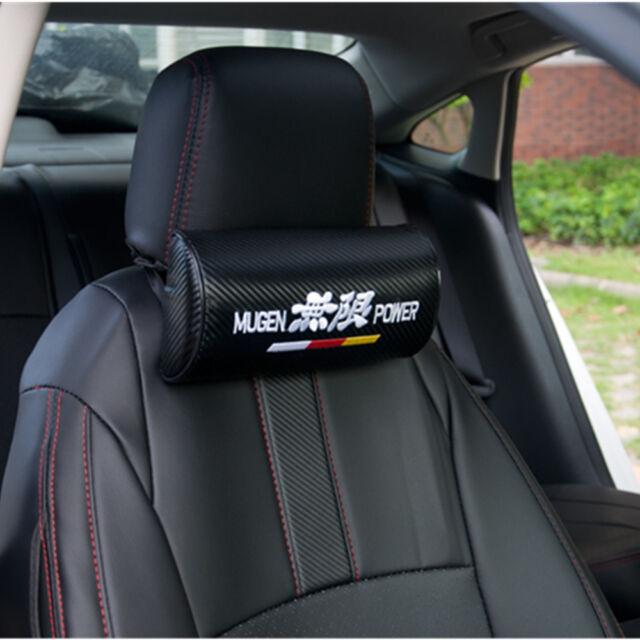 2 X Mugen Power Black Roundness Car Seat Head Neck Rest Cushion Headrest Pillow