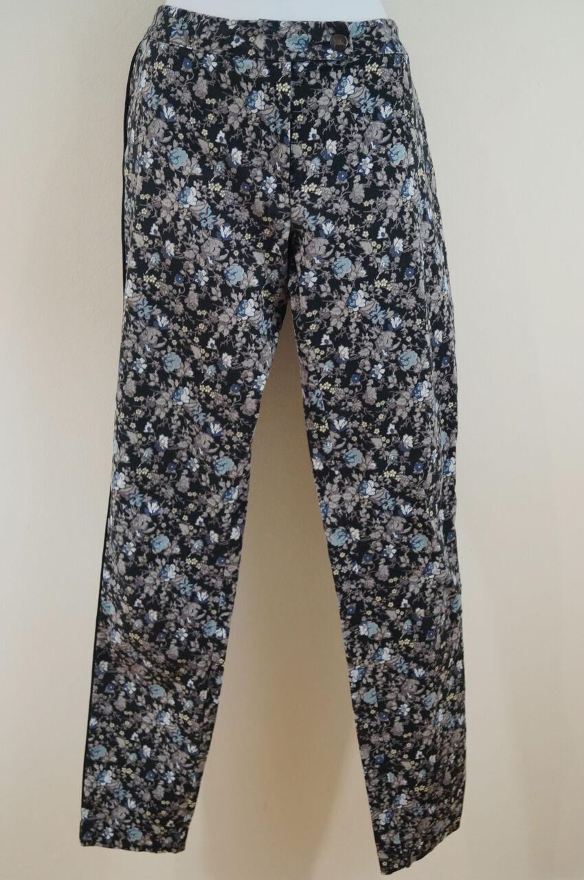 PREEN BY THORNTON BREGAZZI Multicolour Floral Stretch Cotton Trousers Pants Sz L