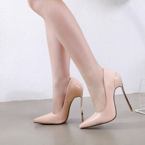 Schuhe-Pumps-13-5-CM-Rosa-Poliert-Blade-Bequem-Leder-Kunststoff-Elegant-7028