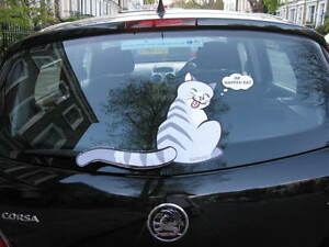 CAT-LOVER-CAR-STICKER-COLLECTABLE-FOR-REAR-WINDSCREEN-WIPER-GREY-STRIPE