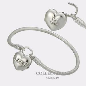 13749ee3d Image is loading Authentic-Pandora-Sterling-Silver-Loved-Heart-Padlock- Bracelet-