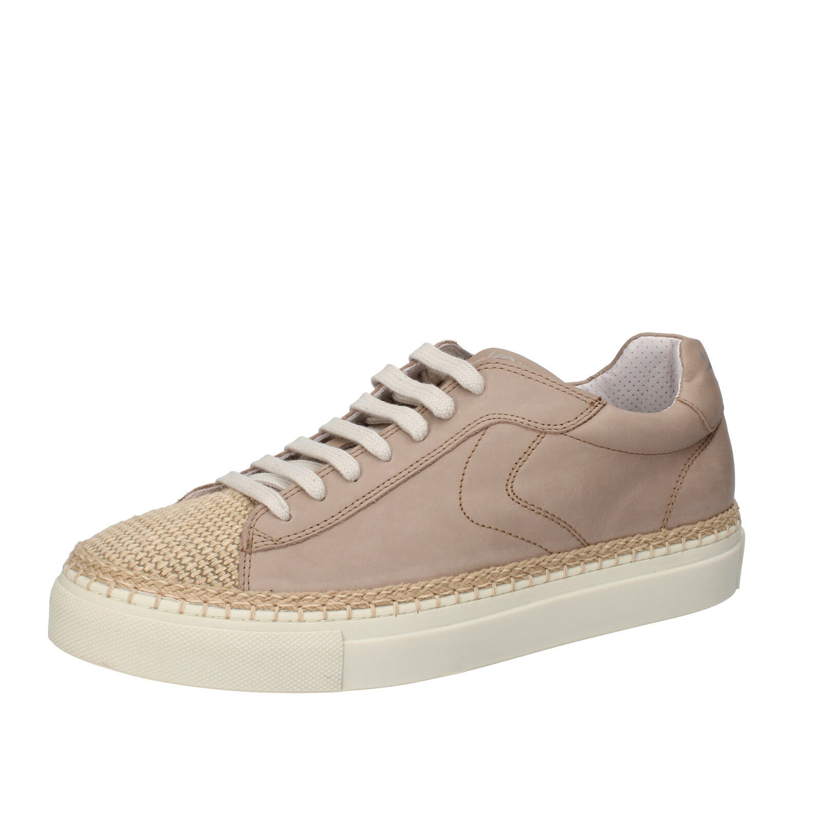Mens shoes VOILE whiteHE 7 (EU 41) Sneakers beige leather Textile AC600-D