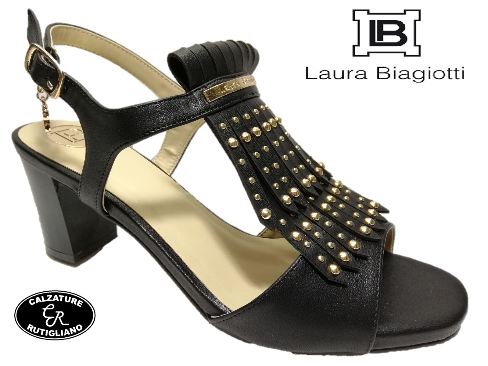LAURA BIAGIOTTI chaussures femmes SANDALI CINTURINO TACCO ALTO PELLE noir  - 647