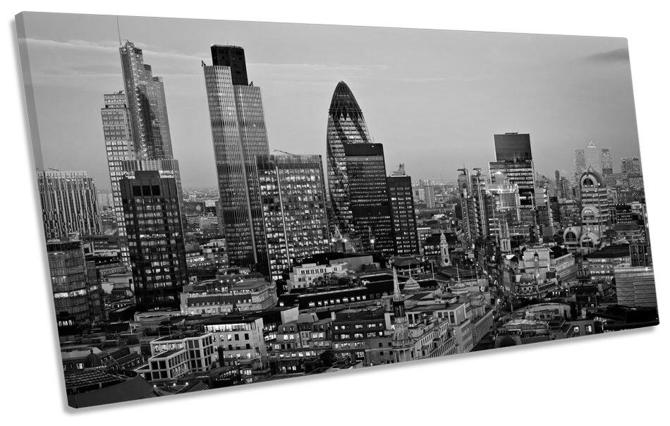 SUNSET Over London City City City B&W panoramico Tela Wall Art Print PICTURE 24134f