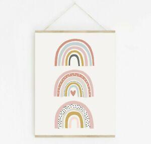 Pink Scandi Arco Iris Arte Moderno Niñas Habitación Decoración del Cuarto de Niños Jugar Habitación impresión 637-A