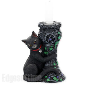 MIDNIGHT-CAT-CANDLE-HOLDER-WICCA-PAGAN-GOTHIC-OCCULT-WITCH-PENTAGRAM-15CM