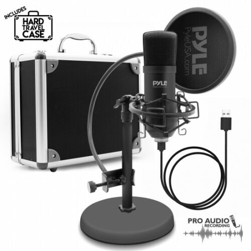 Cardioid Condenser Mic Pyle PDMIKT100 USB Microphone Podcast Recording Kit