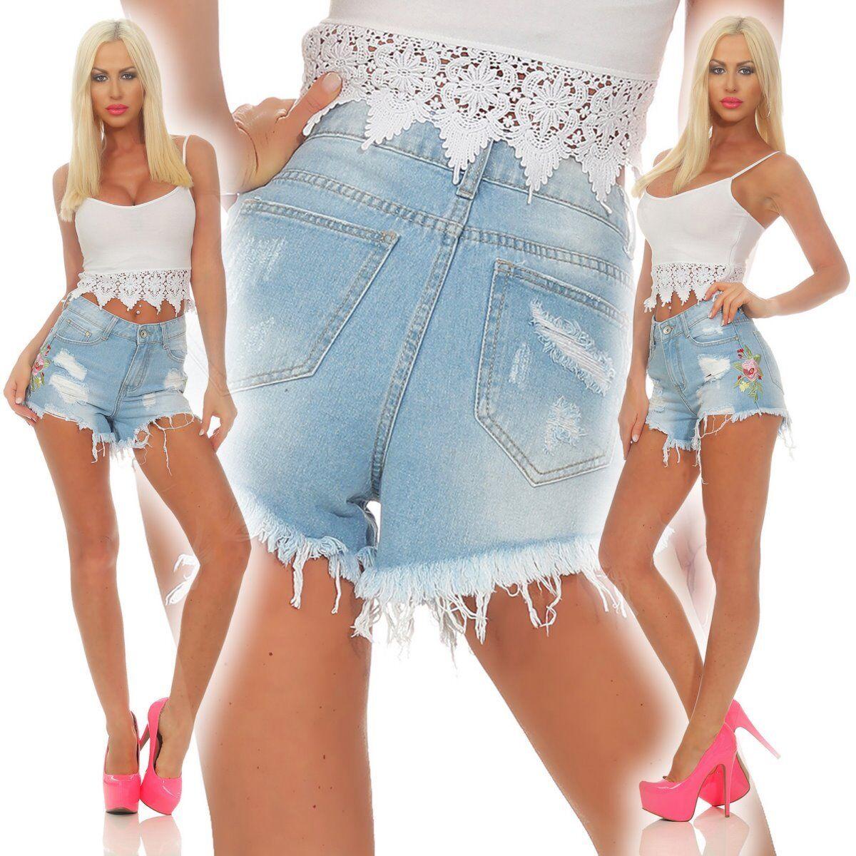 5287 Damen Jeans Hotpants Denim Shorts kurze Hose Hot Pants Jeans Fransen Rosen