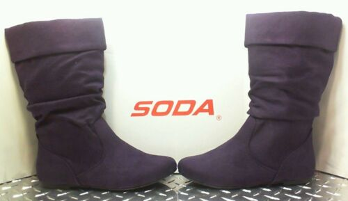 Suede Low Deep Purple Women/'s Flat Boots Comfort Soda Images Faux Calf