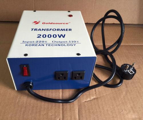 TRANSFORMADOR LIGERO 2000W PARA USAR EQUIPOS DE 110 VOLTIOS EN ESPAÑA EUROPEO
