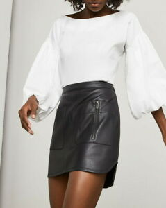 NEW-BCBG-MAXAZRIA-BLACK-SABINA-FAUX-LEATHER-MINI-SKIRT-RPY3G658-B864W-SIZE-S
