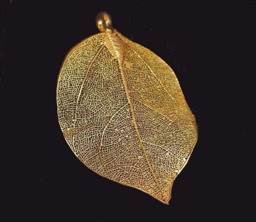 60-75mm Natural real Leaf Metalic Gold Plated Pendant