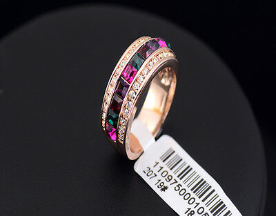 925 Sterling Silver trendy Square Multi Color 3ct Simulated Diamond 18K RGP Ring