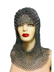NEW YEAR GIFT Chainmail Coif Oval Face Light Weight Steel ...