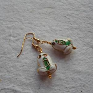 Handmade  Earrings  Cloisonne039 Frogs  White - Birmingham, United Kingdom - Handmade  Earrings  Cloisonne039 Frogs  White - Birmingham, United Kingdom