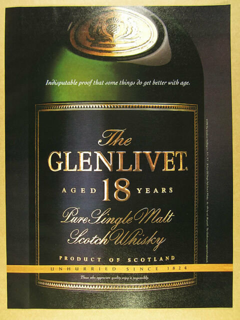 1994 The Glenlivet 18 Year Single Malt Scotch bottle photo vintage print Ad