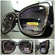 CLASSIC VINTAGE RETRO Style SUNGLASSES Unique Unusual Silver Black Fashion Frame