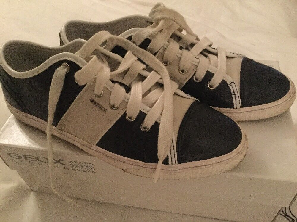 Geox Navy Leather Sneakers Size 6